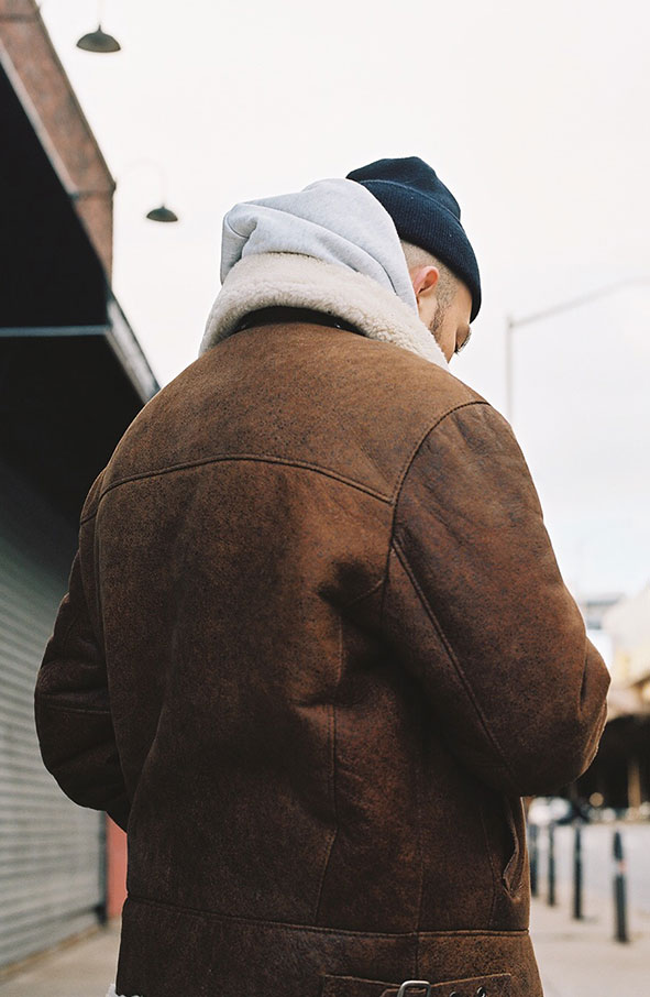 Christopher Sherman shearling coat in Brooklyn, New York