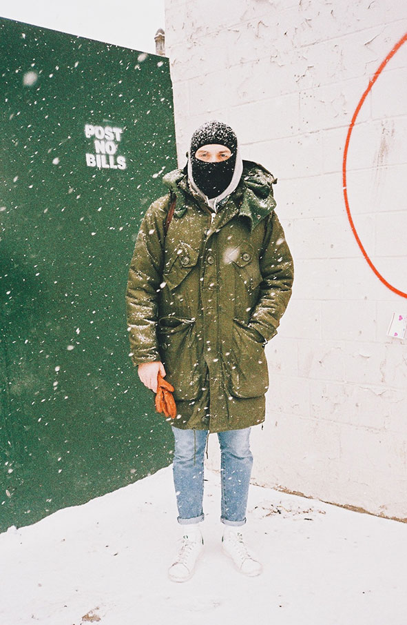 Christopher Sherman in the snow in Williamsburg, Brooklyn